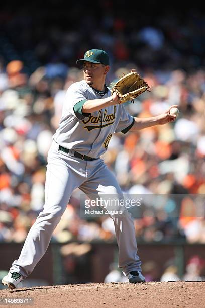 Brian Fuentes of the Oakland Athletics pitches during the game against the San Francisco Giants at ATT Park on May 20 2012 in San Francisco...