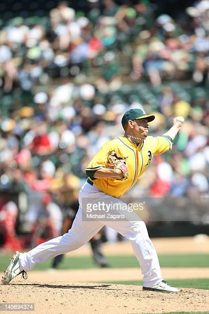 Brian Fuentes of the Oakland Athletics pitches during the game against the Los Angeles Angels of Anaheim at the OaklandAlameda County Coliseum on May...