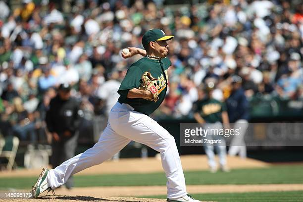 Brian Fuentes of the Oakland Athletics pitches during the game against the New York Yankees at the OaklandAlameda County Coliseum on May 27 2012 in...