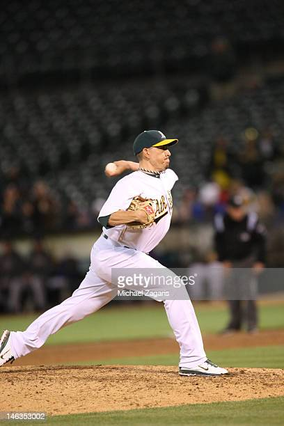 Brian Fuentes of the Oakland Athletics pitches during the game against the Texas Rangers at the OaklandAlameda County Coliseum on June 6 2012 in...