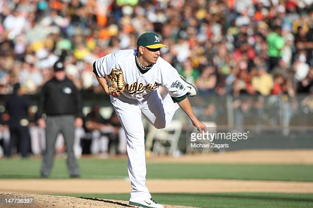 Brian Fuentes of the Oakland Athletics pitches during the game against the San Francisco Giants at the OaklandAlameda County Coliseum on June 23 2012...