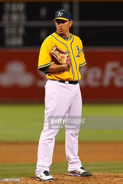 Brian Fuentes of the Oakland Athletics stands on the pitchers mound against the Texas Rangers during the ninth inning at Oco Coliseum on June 5 2012...