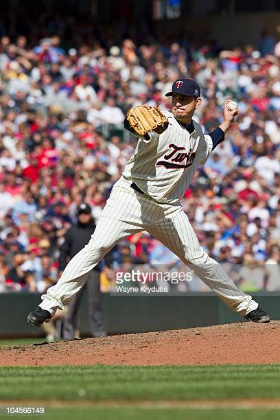 Brian Fuentes pitches against the Oakland Athletics on September 18 2010 at Target Field in Minneapolis Minnesota The Minnesota Twins won 42