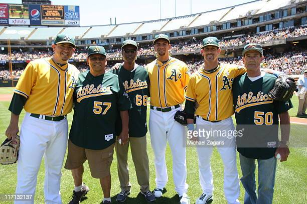 Brian Fuentes Tyson Ross and Grant Balfour of the Oakland Athletics with their fathers on Father's Day before the game against the San Francisco...