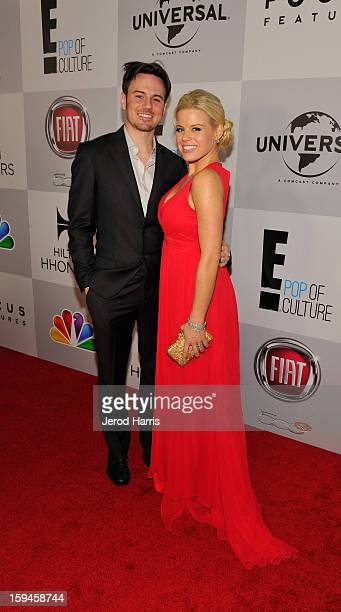 Brian Gallagher and actress Megan Hilty attend the NBCUniversal Golden Globes viewing and after party held at The Beverly Hilton Hotel on January 13...