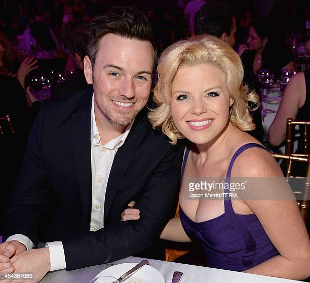 Brian Gallagher and actress Megan Hilty attend 'TrevorLIVE LA' honoring Jane Lynch and Toyota for the Trevor Project at Hollywood Palladium on...