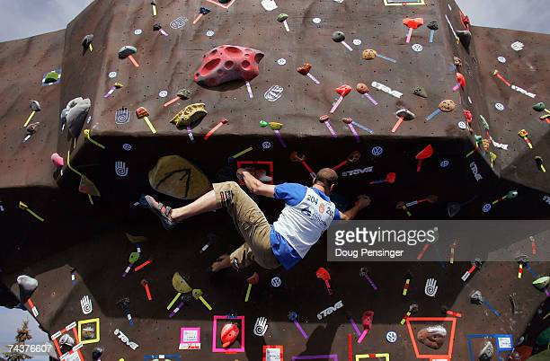 Brian Gallant climbs one of the problems presented during the Pro Bouldering Qualifier during The Teva Mountain Games on June 1, 2007 in Vail,...