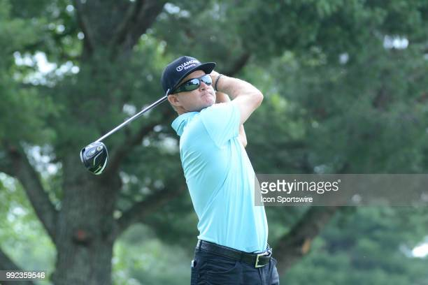 Brian Gay hits a tee shot on the 9th hole during the Military Tribute at The Greenbrier Classic on July 05 2018 in White Sulphur Springs WV