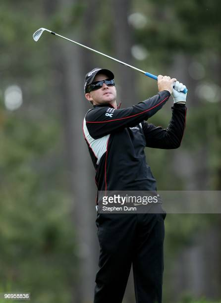 Brian Gay hits his tee shot on the 12th hole during the second round of the AT&T Pebble Beach National Pro-Am at Spyglass Hill Golf Course on...