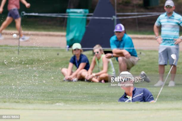 Brian Gay hits out of the bunker on during the first round of the ATT Byron Nelson on May 18 2017 at the TPC Four Seasons Resort in Irving TX