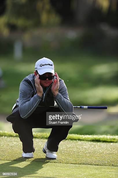 Brian Gay lines up a chat during round one of the ATT Pebble Beach National ProAm at Monterey Peninsula Country Club Shore Course on February 11 2010...
