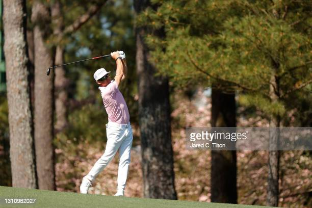 Brian Gay of the United States plays a shot on the second hole during a practice round prior to the Masters at Augusta National Golf Club on April...