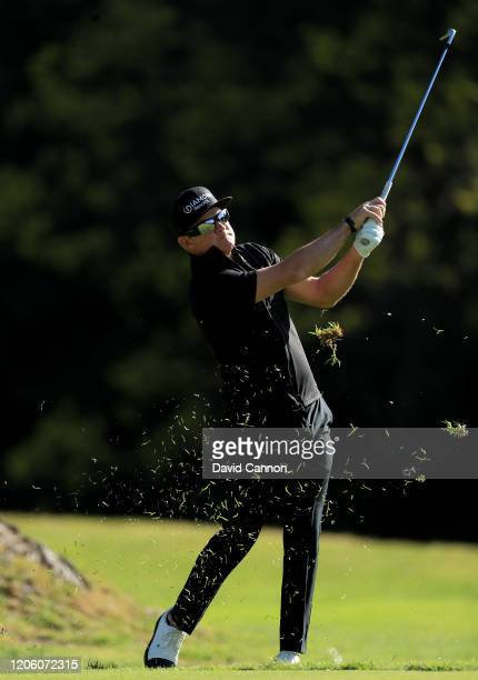 Brian Gay of the United States plays his second shot on the par 4, 13th hole during the first round of the Genesis Invitational at the Riviera...