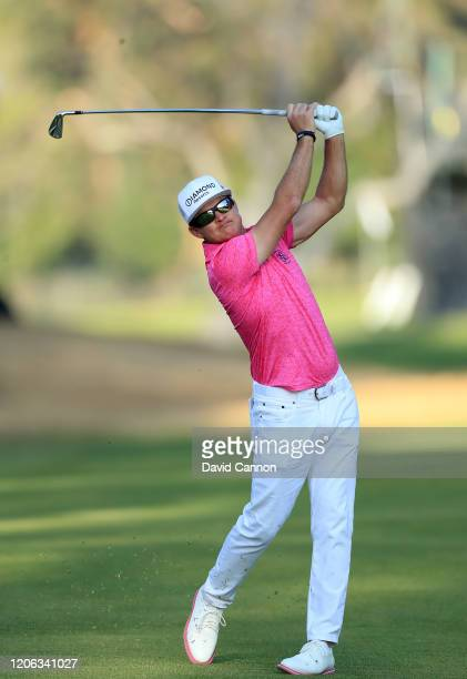 Brian Gay of the United States plays his second shot on the par 4, 13th hole during the second round of the Genesis Invitational at The Riviera...