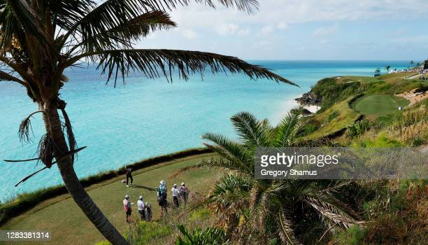 Brian Gay of the United States plays his shot from the 16th tee during the final round of the Bermuda Championship at Port Royal Golf Course on...