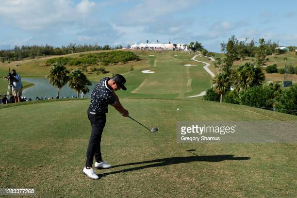 Brian Gay of the United States plays his shot from the 18th tee during the final round of the Bermuda Championship at Port Royal Golf Course on...