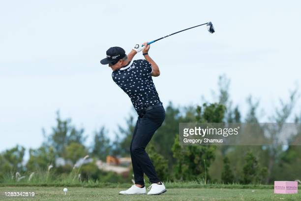 Brian Gay of the United States plays his shot from the first tee during the final round of the Bermuda Championship at Port Royal Golf Course on...