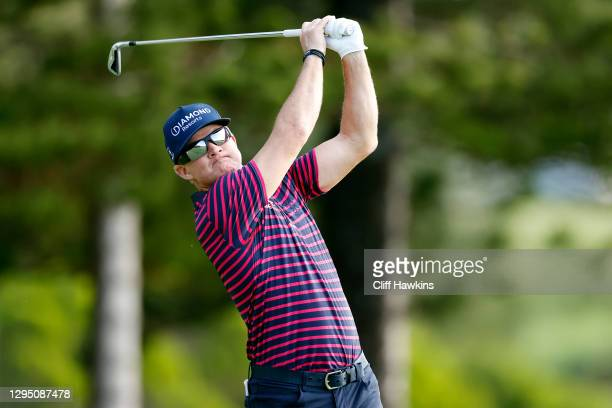 Brian Gay of the United States plays his shot from the second tee during the first round of the Sentry Tournament Of Champions at the Kapalua...