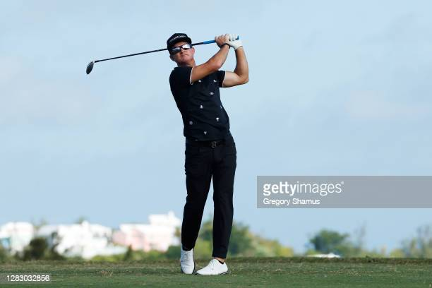 Brian Gay of the United States plays his shot from the tenth tee during the second round of the Bermuda Championship at Port Royal Golf Course on...
