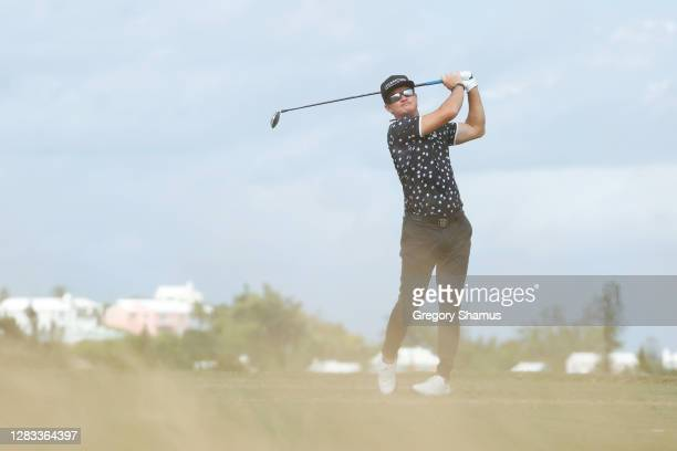 Brian Gay of the United States plays his shot from the tenth tee during the final round of the Bermuda Championship at Port Royal Golf Course on...