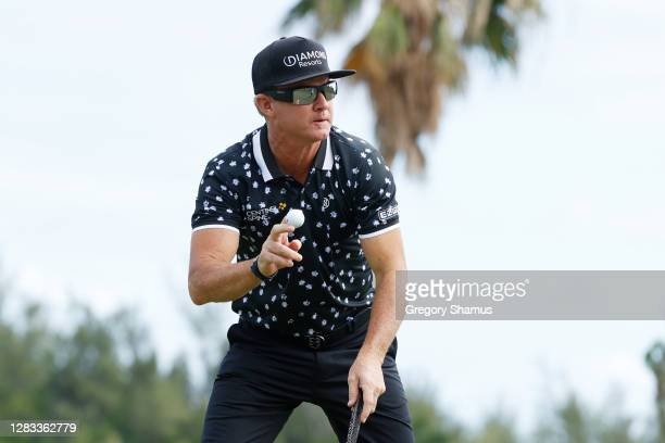 Brian Gay of the United States reacts to his birdie on the sixth green during the final round of the Bermuda Championship at Port Royal Golf Course...