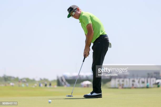 Brian Gay of the United States sinks his birdie putt on during the second round of the 50th anniversary AT&T Byron Nelson on May 18, 2018 at Trinity...