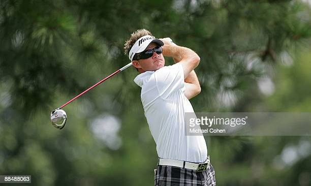 Brian Gay of the U.S. Hits his drive on the third hole during the final round of the St. Jude Classic at TPC Southwind held on June 14, 2009 in...