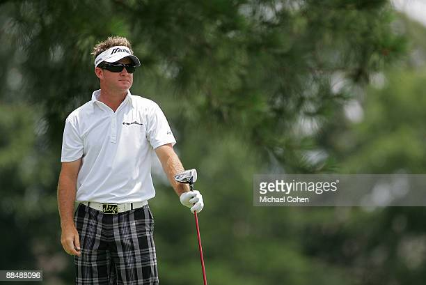 Brian Gay of the U.S. Prepares to hit his drive on the third hole during the final round of the St. Jude Classic at TPC Southwind held on June 14,...