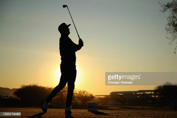 Brian Gay plays a tee shot on the 12th hole during the second round of the Waste Management Open at TPC Scottsdale on January 31, 2020 in Scottsdale,...