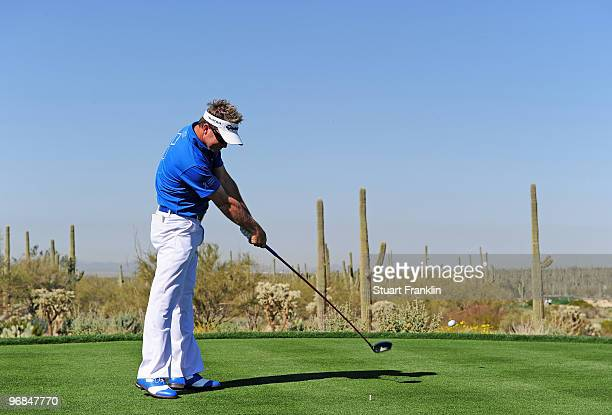 Brian Gay plays his tee shot on the fifth hole during round two of the Accenture Match Play Championship at the Ritz-Carlton Golf Club on February...