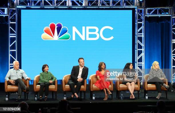 Brian George Madhur Jaffrey Paul Adelstein Sarayu Blue Aseem Batra Amy Poehler of the television show 'I Feel Bad' speak during the NBC segment of...