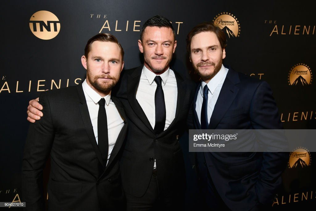 Brian Geraghty, Luke Evans and Daniel Bruhl attend The Alienist - LA Premiere Event at Paramount Studios on January 11, 2018 in Hollywood, California. 26144_017
