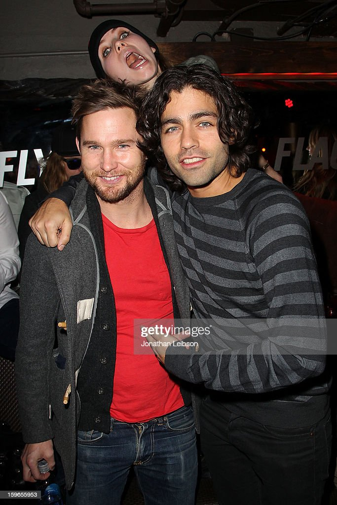 Brian Geraghty, Skylar Grey and Adrian Grenier at the Lil Jon Birthday Party at Downstairs Bar on January 17, 2013 in Park City, Utah.