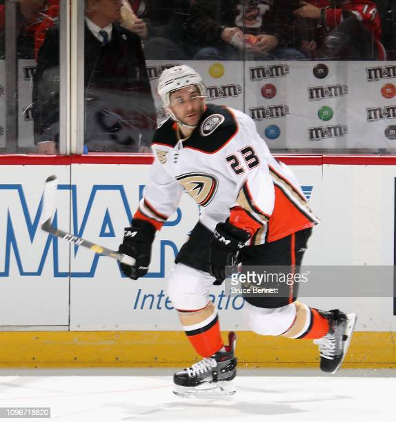 Brian Gibbons of the Anaheim Ducks skates against the New Jersey Devils at  the Prudential Center 05924ee20