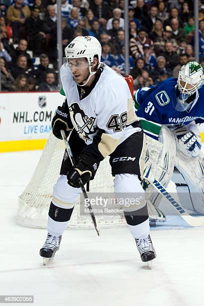 Brian Gibbons of the Pittsburgh Penguins skates against the Vancouver Canucks on January 7, 2014 at Rogers Arena in Vancouver, British Columbia,...