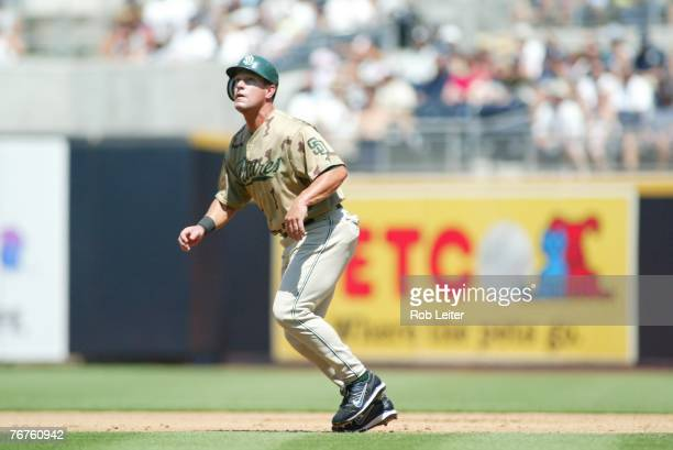 Brian Giles of the San Diego Padres leads off first base during the game against the Los Angeles Dodgers at Petco Park in San Diego California on...