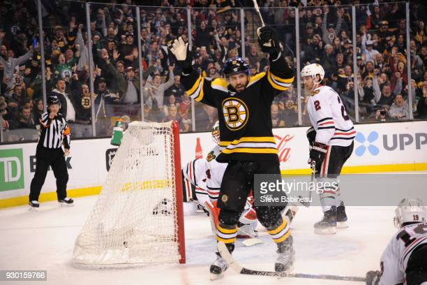 Brian Gionta of the Boston Bruins celebrates a goal against the Chicago Blackhawks at the TD Garden on March 10 2018 in Boston Massachusetts