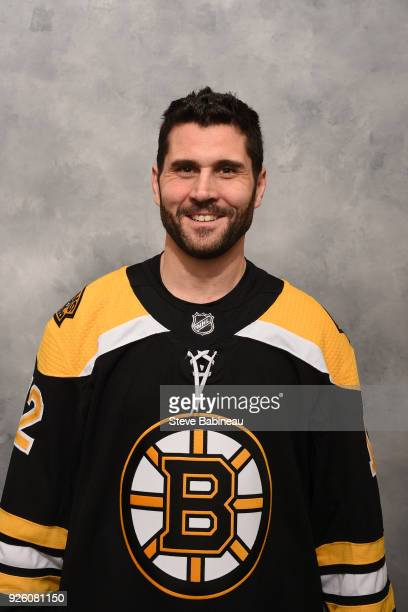 Brian Gionta of the Boston Bruins poses for his official headshot before the game against the Pittsburgh Penguins at the TD Garden on March 1 2018 in...