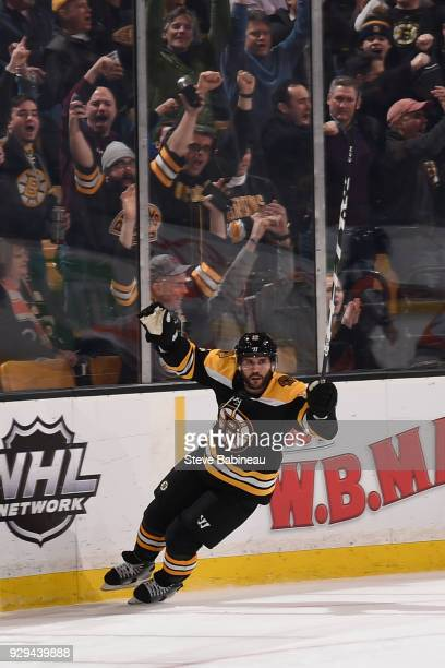 Brian Gionta of the Boston Bruins scores a goal against the Philadelphia Flyers at the TD Garden on March 8 2018 in Boston Massachusetts