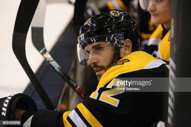 Brian Gionta of the Boston Bruins watches the play against the Philadelphia Flyers at the TD Garden on March 8 2018 in Boston Massachusetts