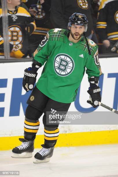 Brian Gionta of the Boston Bruins wearing the Irish Heritage Night warm up jersey before the game against the Detroit Red Wings at the TD Garden on...
