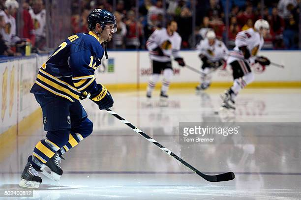 Brian Gionta of the Buffalo Sabres enters the ice during warmups at the First Niagara Center on December 19 2015 in Buffalo New York
