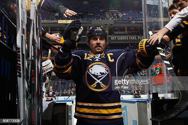 Brian Gionta of the Buffalo Sabres heads to the locker room after warming up to play the Boston Bruins at First Niagara Center on January 15 2016 in...