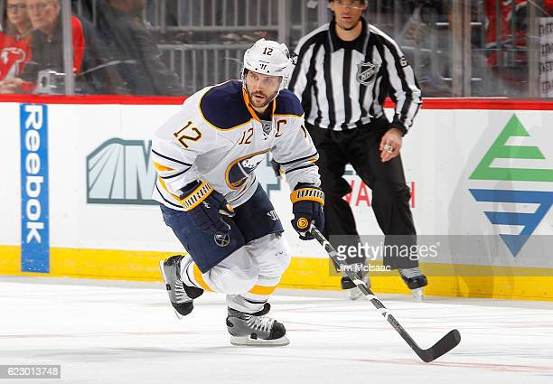 Brian Gionta of the Buffalo Sabres in action against the New Jersey Devils at the Prudential Center on November 12 2016 in Newark New Jersey The...