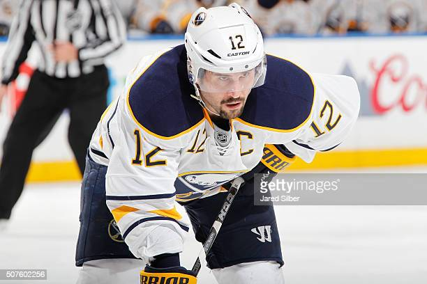 Brian Gionta of the Buffalo Sabres looks on during a faceoff against the New York Rangers at Madison Square Garden on January 25 2016 in New York...