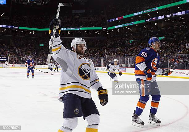 Brian Gionta of the Buffalo Sabres scores at 557 of the third period agaiunst the New York Islanders at the Barclays Center on April 9 2016 in the...