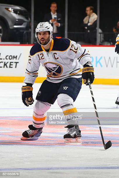Brian Gionta of the Buffalo Sabres skates against the New York Islanders at the Barclays Center on April 9 2016 in Brooklyn borough of New York City...