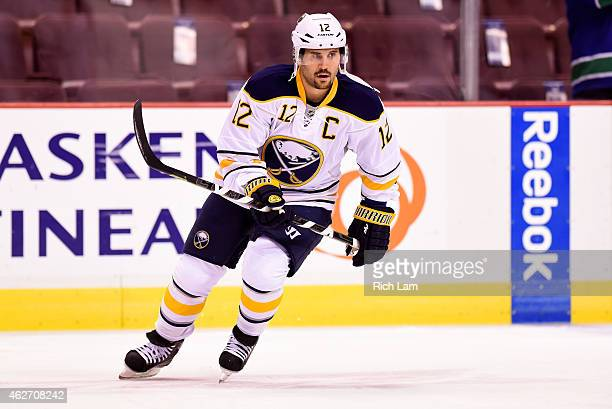 Brian Gionta of the Buffalo Sabres skates in the pregame skate prior to NHL action against the Vancouver Canucks in Vancouver BC on January 2015 at...
