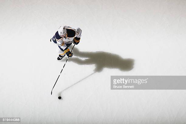Brian Gionta of the Buffalo Sabres skates in warmups prior to the game against the New Jersey Devils at the Prudential Center on April 5 2016 in...