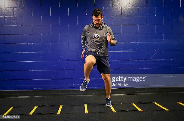 Brian Gionta of the Buffalo Sabres warms up before their NHL game against the Vancouver Canucks at Rogers Arena October 20 2016 in Vancouver British...